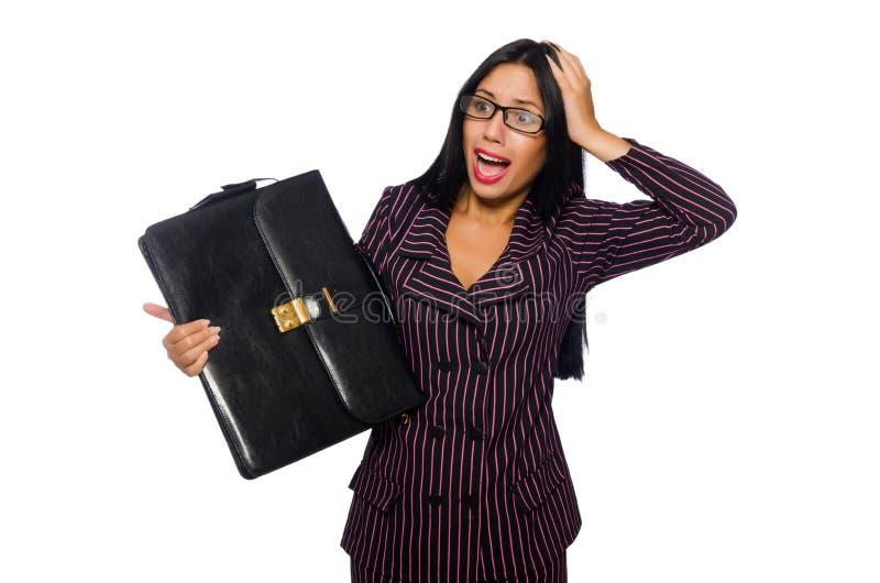 Kobieta bizneswomanu pojęcia odosobniony biały tło zdjęcie royalty free