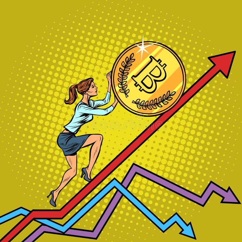 Kobieta bizneswomanu rolka bitcoin moneta up ilustracja wektor