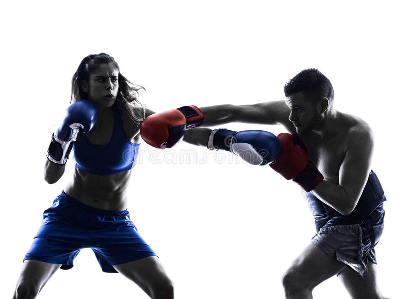 Kobieta boksera boksu mężczyzna kickboxing sylwetka obrazy stock