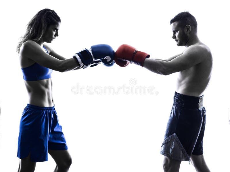 Kobieta boksera boksu mężczyzna kickboxing sylwetka odizolowywająca zdjęcie stock