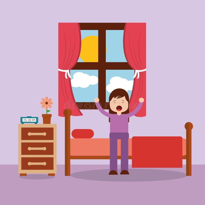 Kobieta budzi się up w rozciągać i łóżku ilustracji