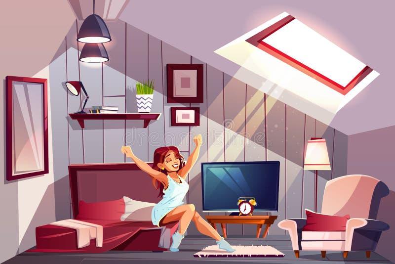 Kobieta budzi się w strychowym sypialnia wektorze ilustracji