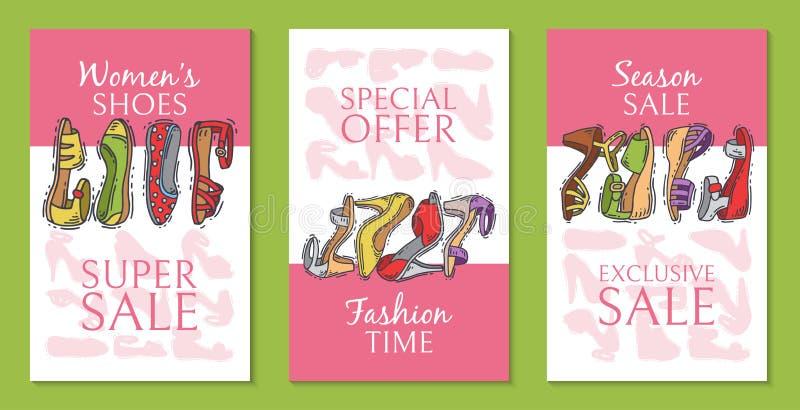 Kobieta butów pary obuwia elegancka wysoka sprzedaż grępluje wektorową ilustrację Szpilki dziewczyny pi?ty modny plakat trend ilustracja wektor