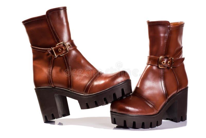 Kobieta buty Brown fotografia stock