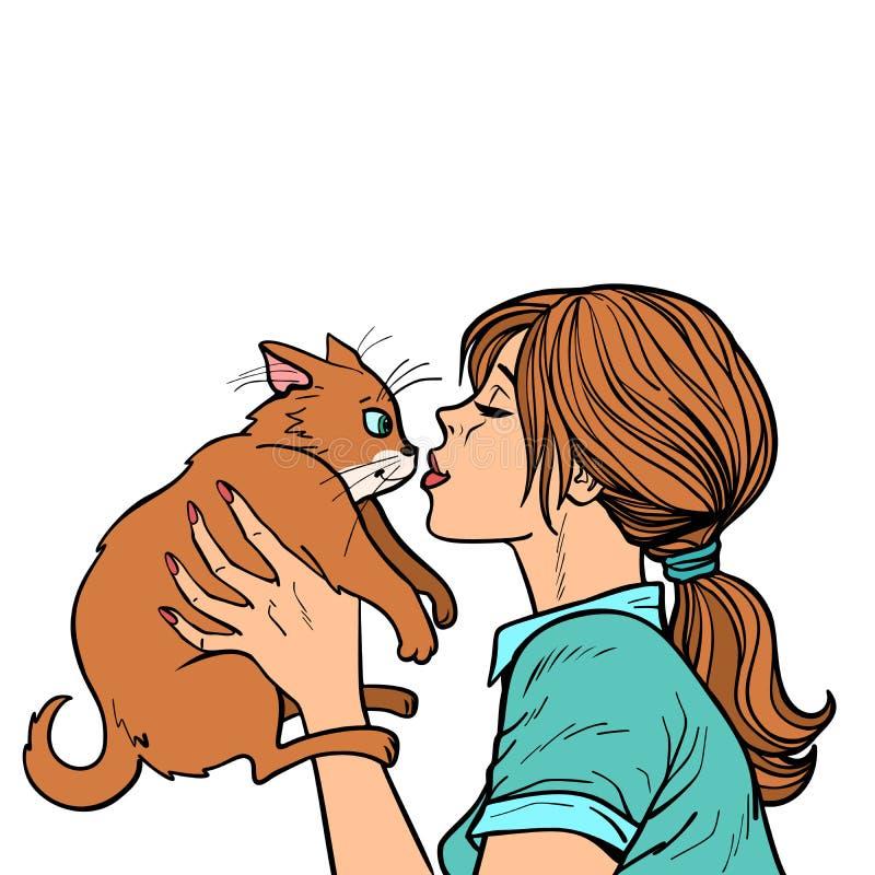 Kobieta całuje kota ilustracja wektor