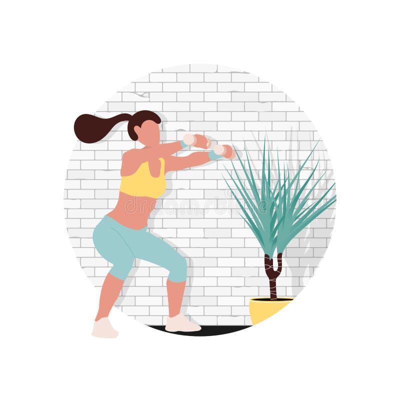 Kobieta charakter robi sprawności fizycznej ilustracja wektor