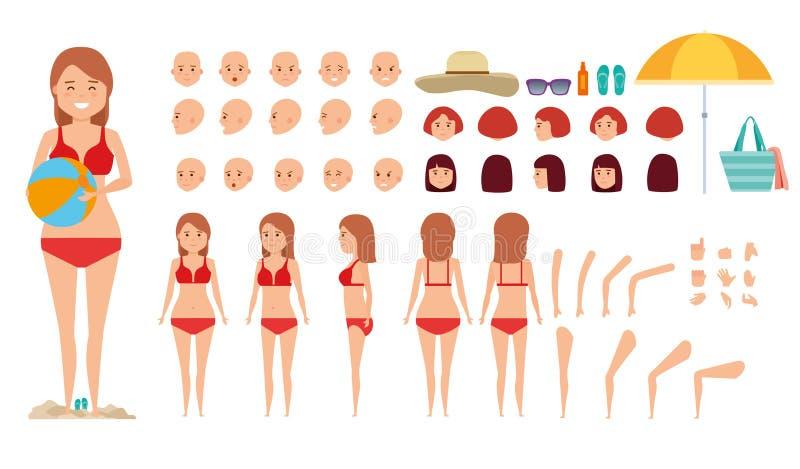 Kobieta charakteru tworzenia set Różnorodny set dziewczyna na wakacje torby plażowi nadmuchiwani kurtki piaska sandały ustawiając ilustracja wektor