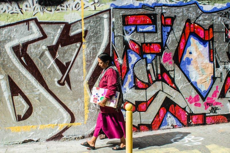 Kobieta chodzi za graffiti ścianą w Belleville, Paryż, Francja obrazy stock