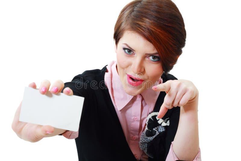 Kobieta chwytów karta zdjęcia royalty free