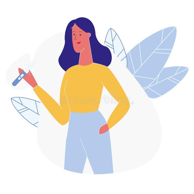 Kobieta chwyta Ciążowego testa Pozytywna ilustracja ilustracja wektor