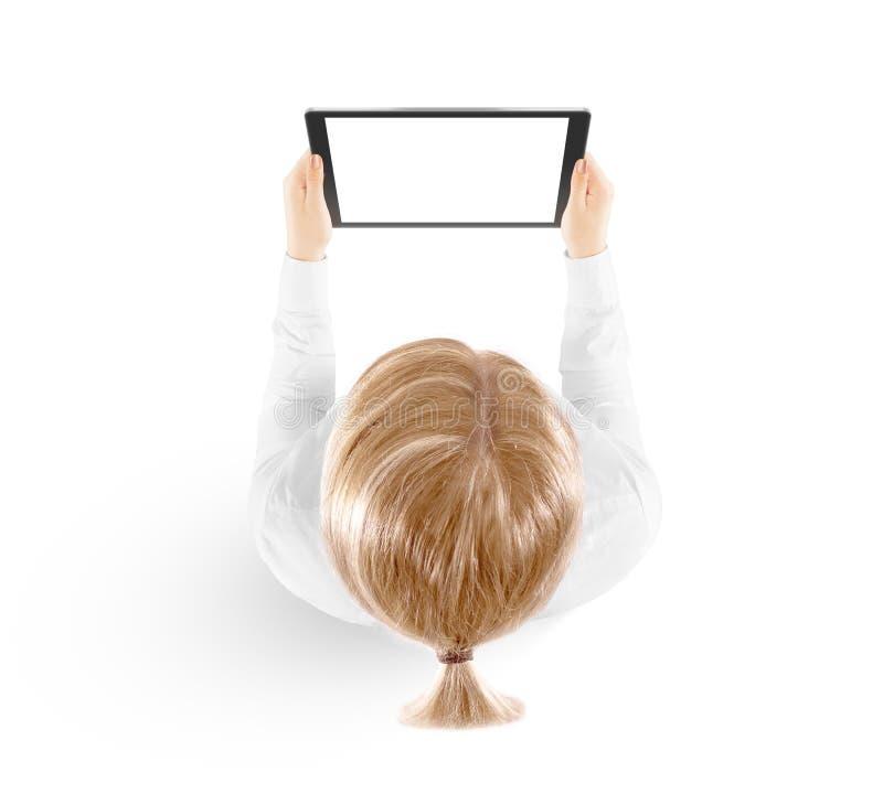 Kobieta chwyta pastylki komputeru osobistego mockup w ręka odgórnym widoku odizolowywającym obraz royalty free