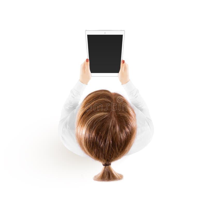 Kobieta chwyta pastylki komputeru osobistego mockup w ręka odgórnym widoku odizolowywającym fotografia royalty free