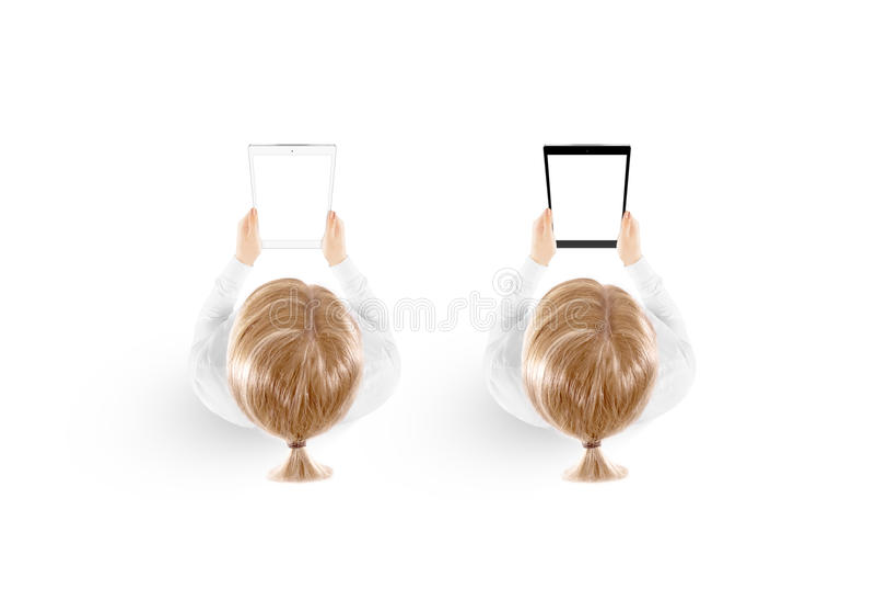 Kobieta chwyta pastylki komputeru osobistego mockup w ręka odgórnym widoku odizolowywającym zdjęcie stock