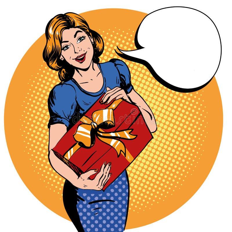 Kobieta chwyta prezenta pudełko bąbel mowa dziękować ty Wektorowa ilustracja w retro komicznym wystrzał sztuki stylu ilustracja wektor