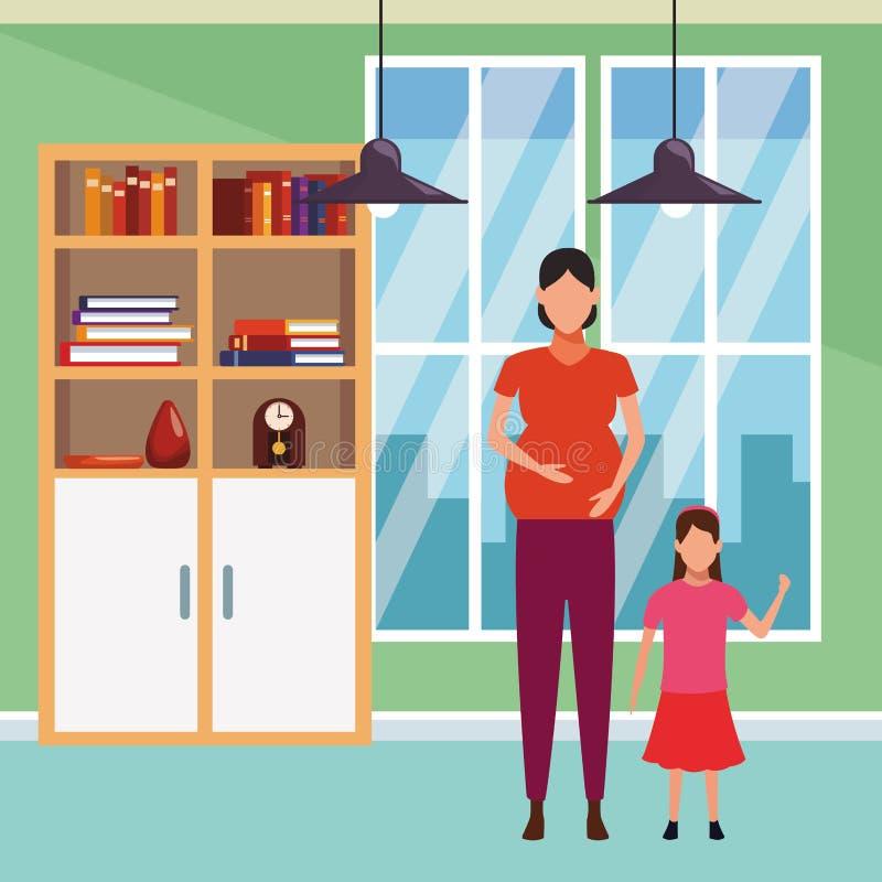 Kobieta ciężarna z dziecka avatar postacią z kreskówki ilustracja wektor