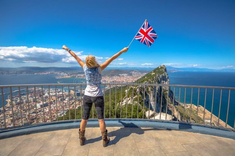 Kobieta cieszy się przy Gibraltar zdjęcia royalty free
