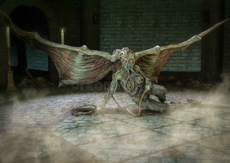 Kobieta Cthulhu lubi potwora obsiadanie w dungeon royalty ilustracja