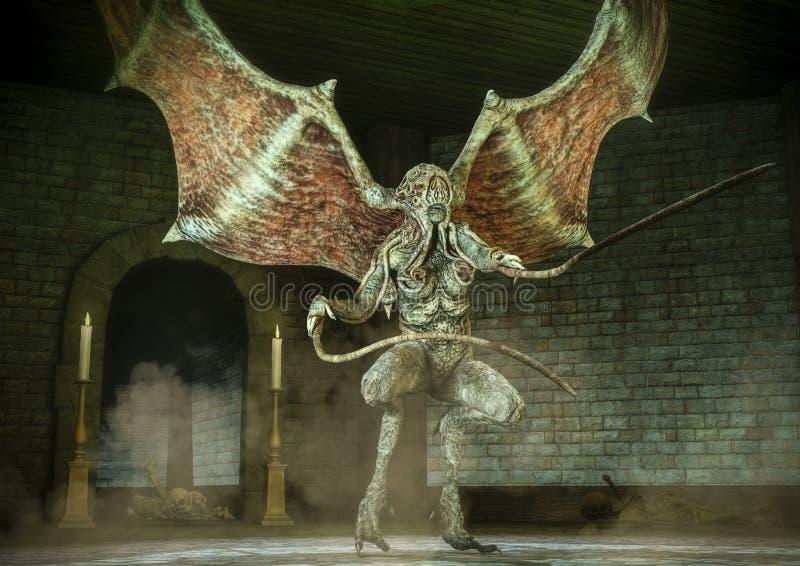 Kobieta Cthulhu lubi potwora w dungeon royalty ilustracja
