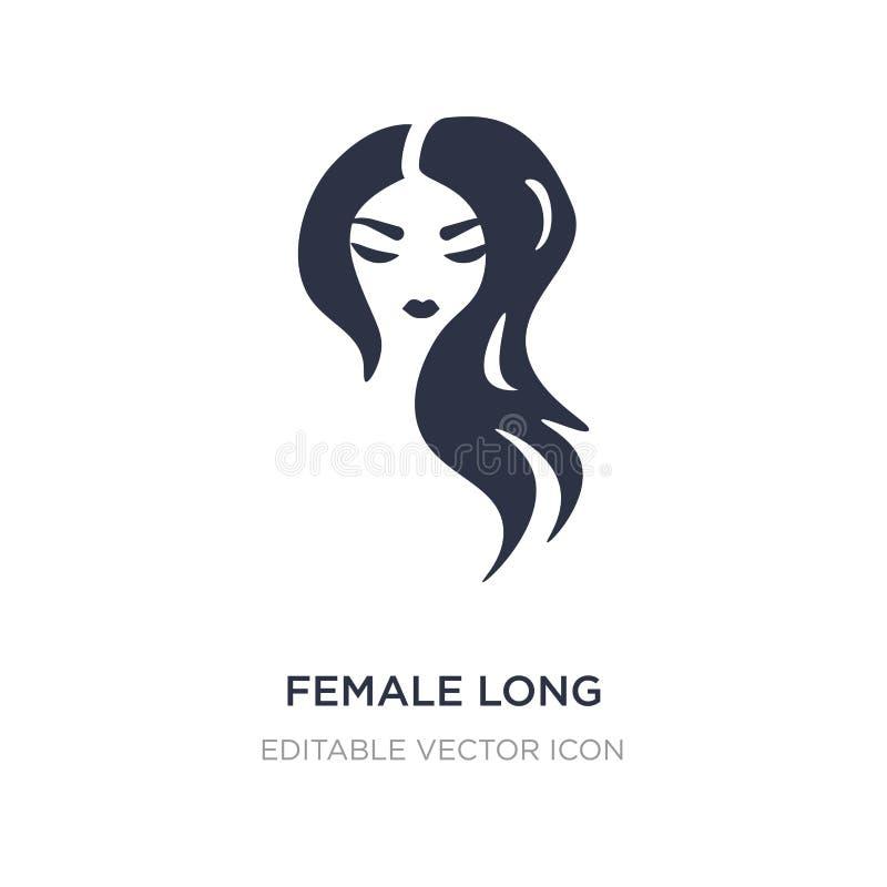 kobieta czarni włosy długa ikona na białym tle Prosta element ilustracja od kształta pojęcia royalty ilustracja