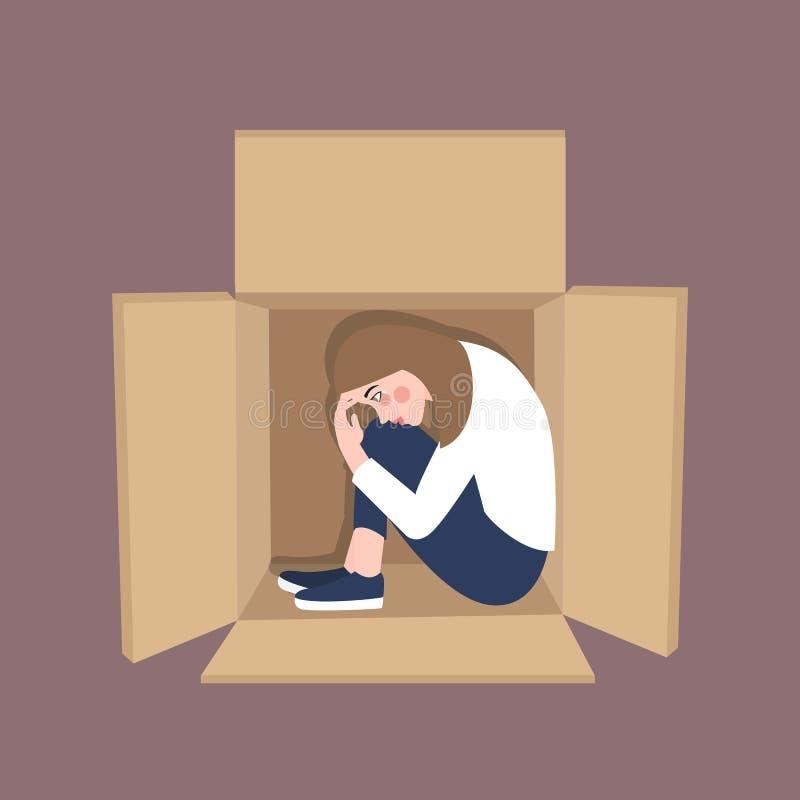 Kobieta czuje samotnego inside pudełka karton jest w nastroju dla zaakcentowanego frustation royalty ilustracja