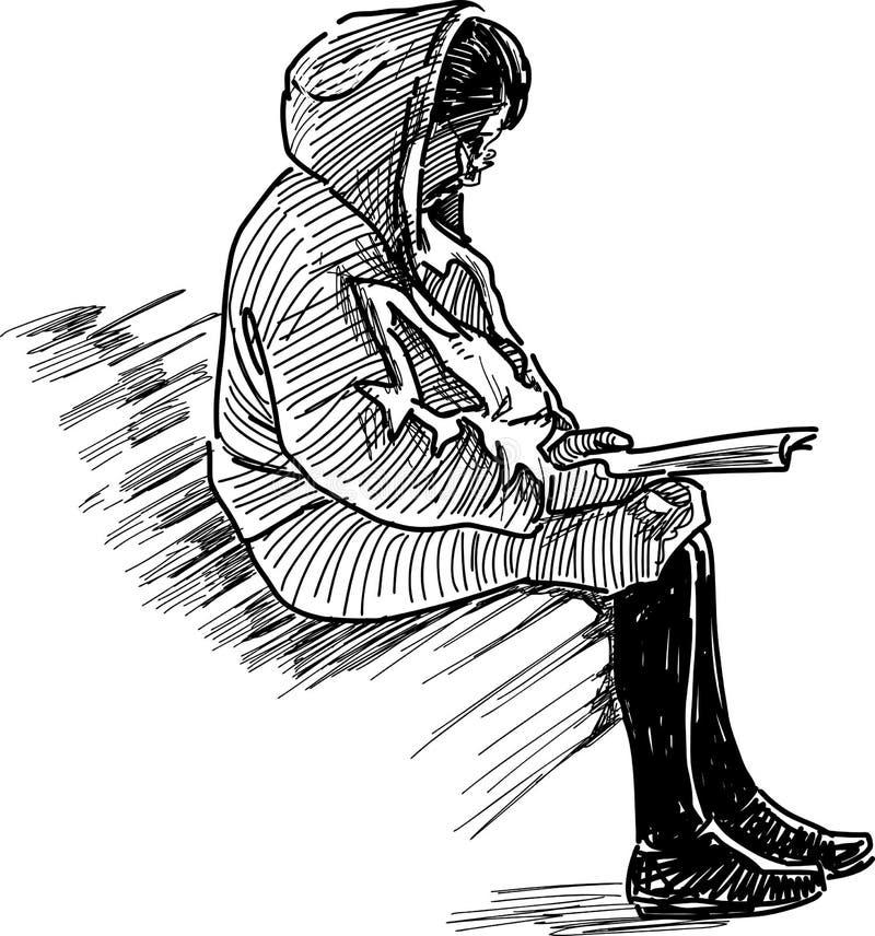 Kobieta czyta książkę royalty ilustracja