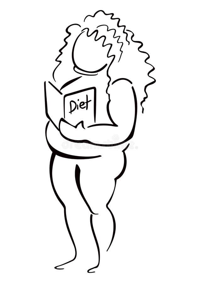 Kobieta czyta o diecie royalty ilustracja