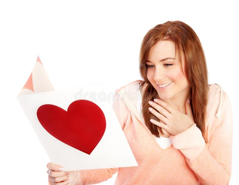 Kobieta czytelniczy list miłosny zdjęcia royalty free