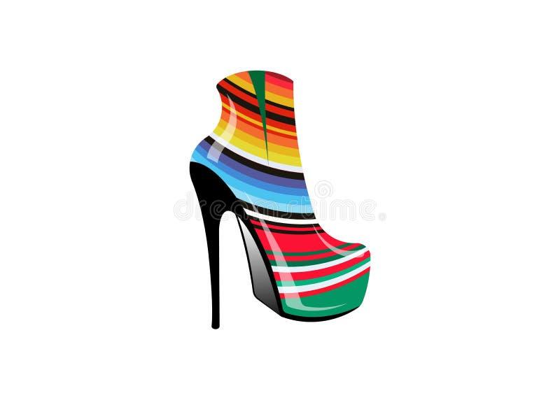 Kobieta 3D inicjuje na szpilkach, boczny widok, loga obuwiany sklep, sklep, mody kolekcja, butik etykietka Firma loga projekt royalty ilustracja