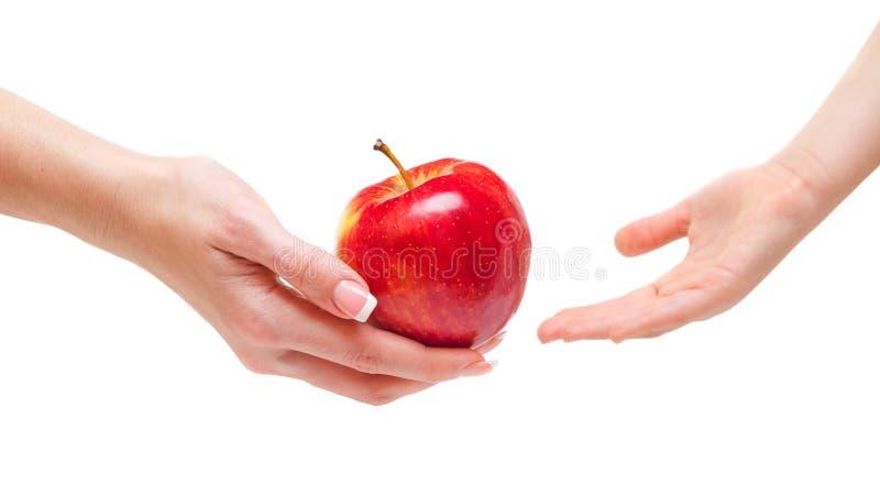 Kobieta daje jabłka dzieci obrazy stock