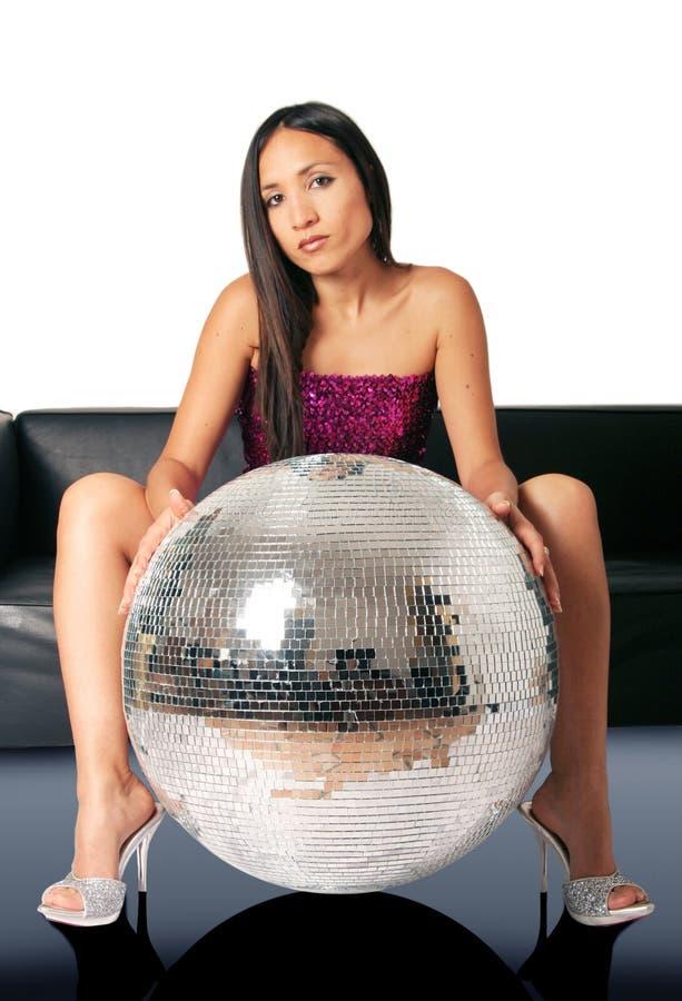 kobieta discoball obraz stock