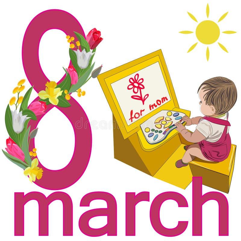 Kobieta dnia karta z obrazkiem dziecko, gratulujący mamy 8 z girlandą i liczb tulipany, daffodils i mimoza, royalty ilustracja