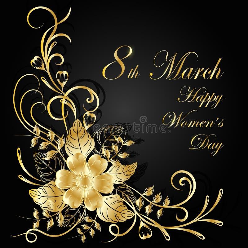 Kobieta dnia kartka z pozdrowieniami Piękny złoto kwitnie na ciemnym tle z cieniem ilustracja wektor