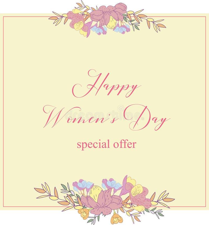 Kobieta dnia sprzedaży inkasowi sztandary Sprzedaż rabata 8 kobiet s dnia Marcowy Szczęśliwy plakat Eighth Marcowa prezent karta  ilustracji