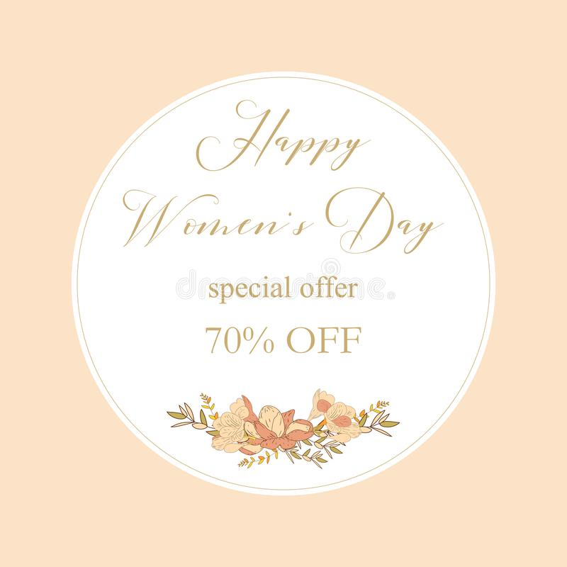 Kobieta dnia sprzedaży inkasowi sztandary Sprzedaż rabata 8 kobiet s dnia Marcowy Szczęśliwy plakat Eighth Marcowa prezent karta  royalty ilustracja