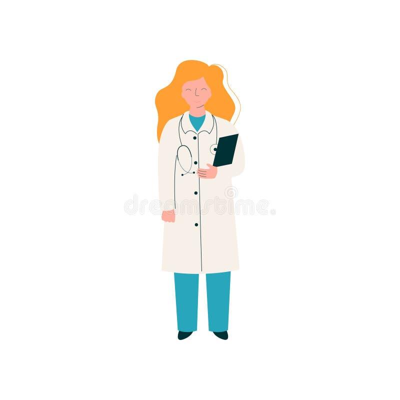 Kobieta Doktorski charakter z stetoskopem, schowek, pracownik Medyczna klinika i szpital w Jednolitym wektorze, royalty ilustracja