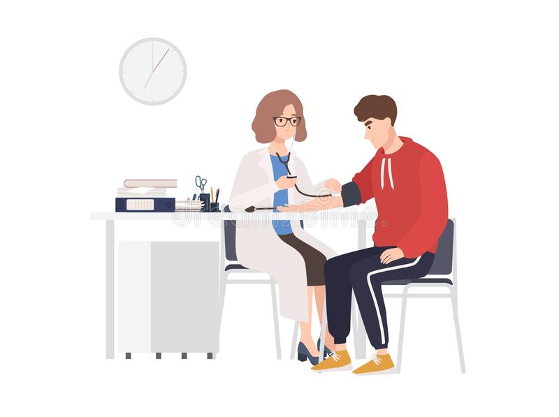 Kobieta doktorski lub medyczny doradca siedzi przy biurkiem i mierzy ciśnienie krwi męski pacjent Mężczyzna przy lekarza s biurem ilustracja wektor