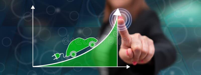 Kobieta dotyka elektrycznego samochodu wzrosta pojęcie obraz stock
