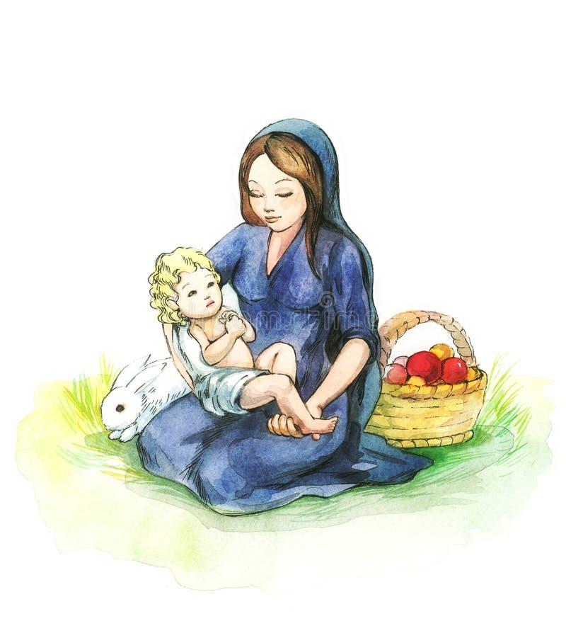 kobieta, dziecko ilustracja wektor