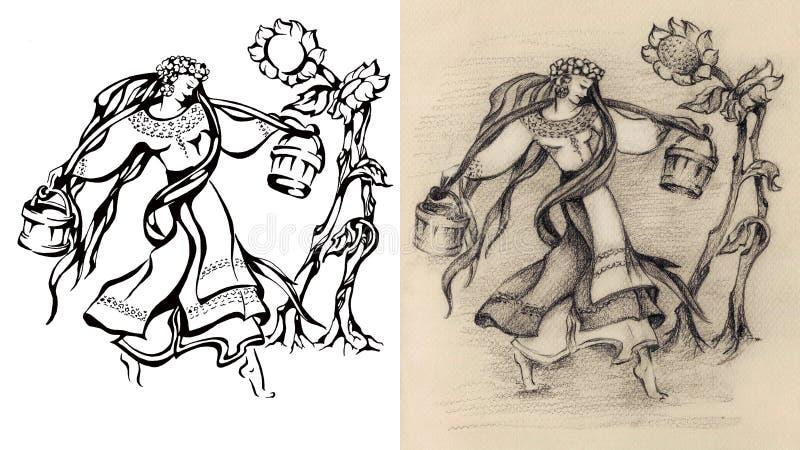 Kobieta, dziewczyna niesie wodę Kwiat Rocznik retro ilustracji