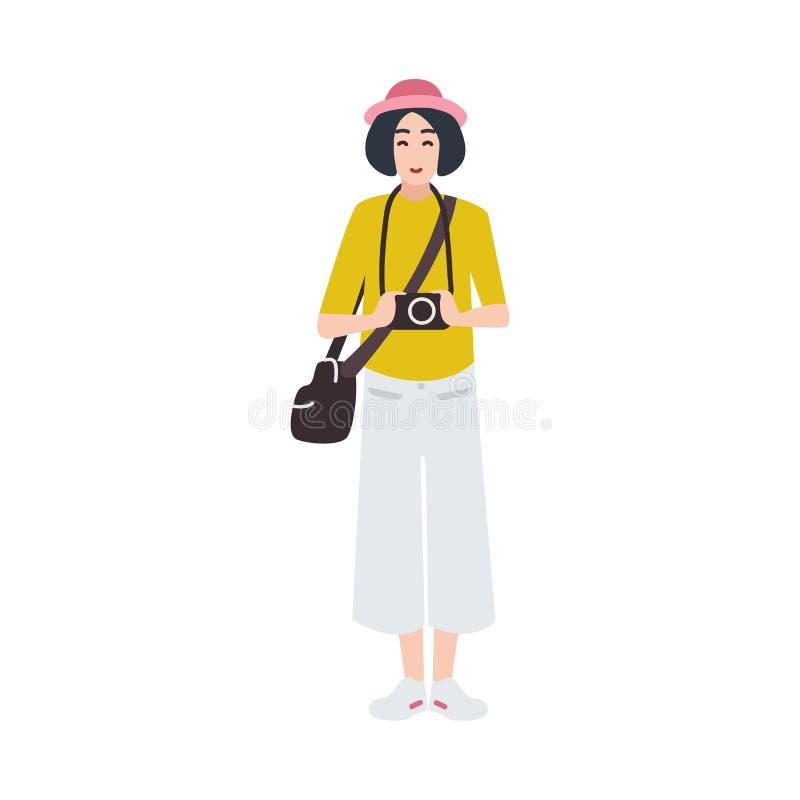 Kobieta fotografa mienia fotografii fotografować i kamera Kreatywnie zajęcie lub zawód Śliczna żeńska kreskówka ilustracji