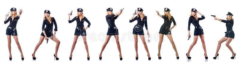 Kobieta funkcjonariusz policji odizolowywający na bielu zdjęcie royalty free