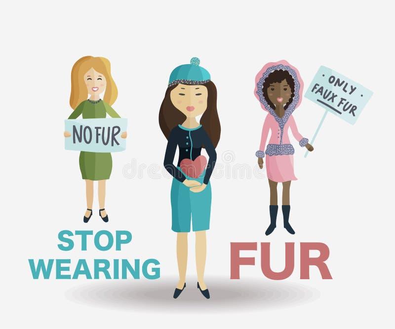 Kobieta głosuje wiec przeciw być ubranym naturalnego futerko ilustracja wektor