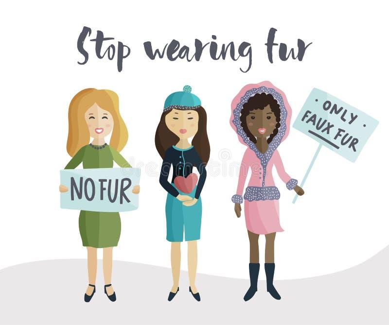 Kobieta głosuje wiec przeciw być ubranym naturalnego futerko royalty ilustracja