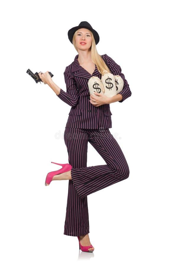 Kobieta gangster z pistoletem w roczniku obraz royalty free