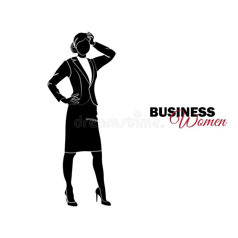 kobieta garnitur Bizneswoman przylega jej głowa, myśleć ilustracja wektor
