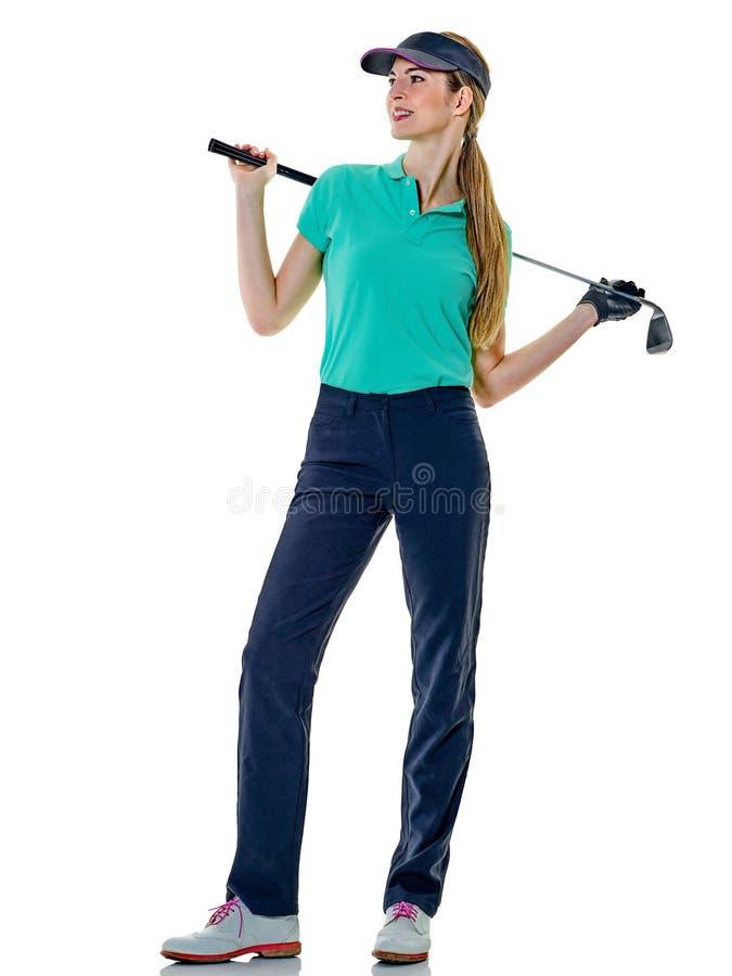 Kobieta golfisty grać w golfa odizolowywam zdjęcia royalty free