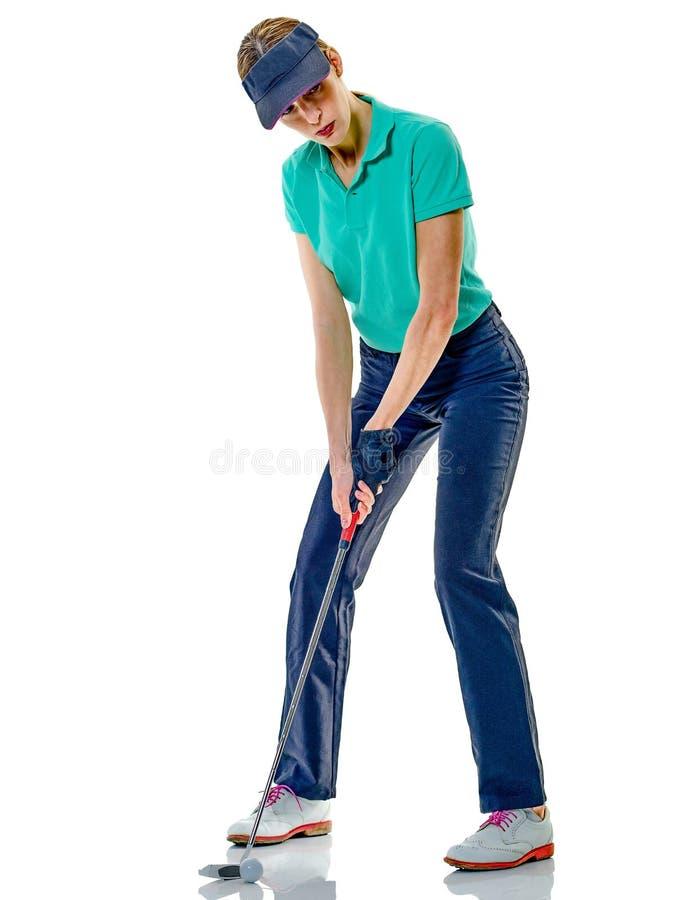 Kobieta golfisty grać w golfa odizolowywam obrazy royalty free