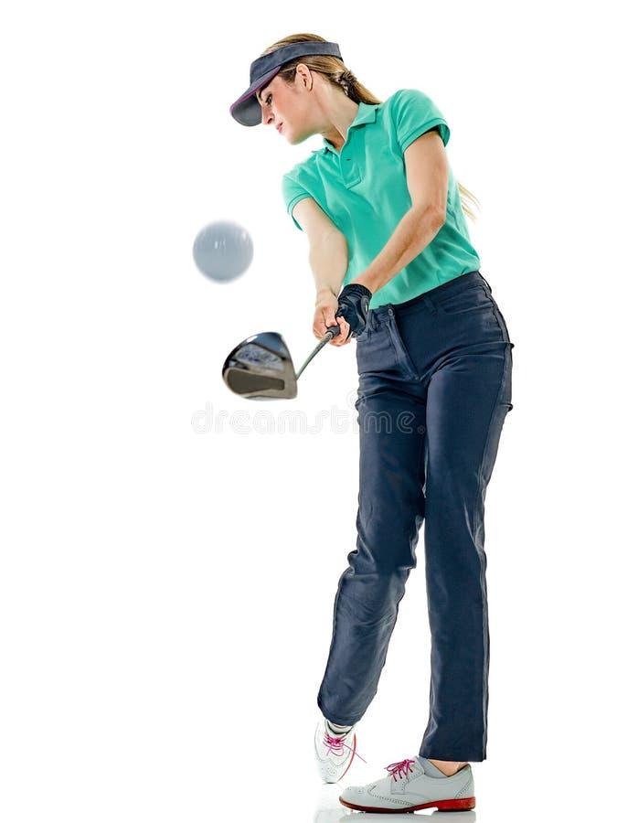 Kobieta golfisty grać w golfa odizolowywam zdjęcie stock