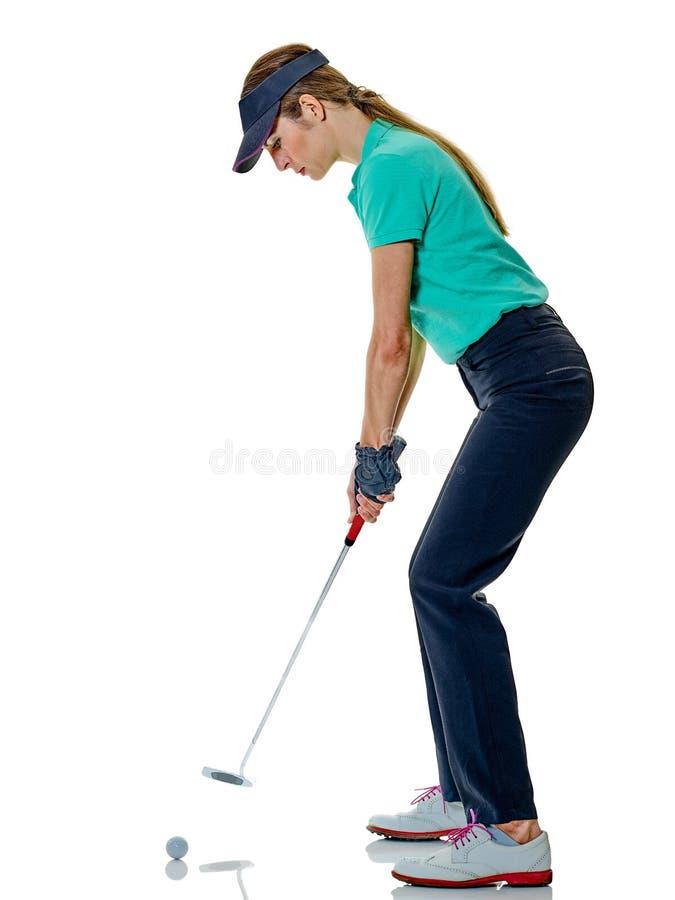 Kobieta golfisty grać w golfa odizolowywam fotografia stock