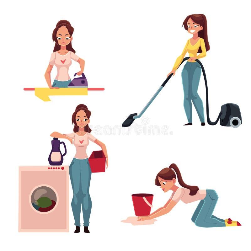 Kobieta, gospodyni domowa robi obowiązek domowy - prasowanie, domycie, próżniowy cleaning, mopping podłoga royalty ilustracja